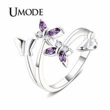 UMODE Purple Butterfly Wedding Rings for Women Open Adjustable Silver Rings Fashion Lovers Jewelry Accessories UR0496B цена в Москве и Питере