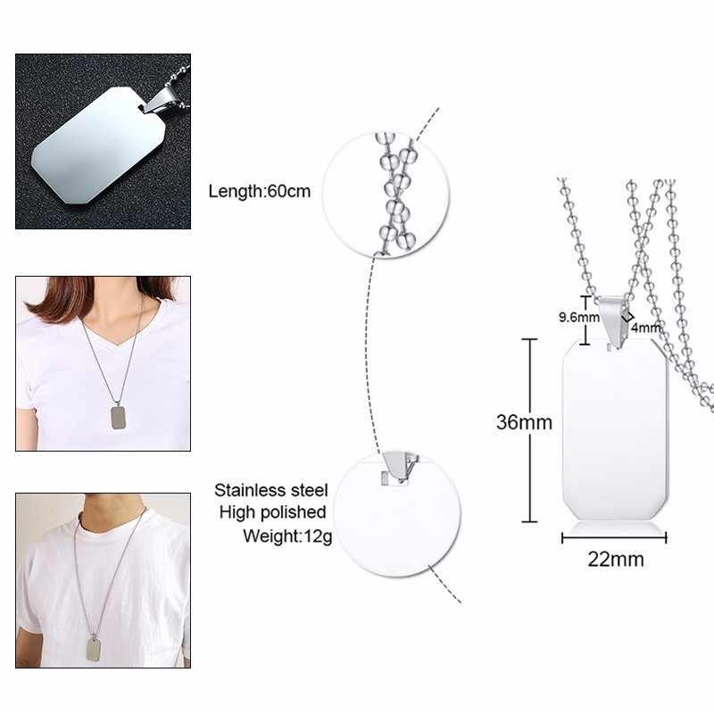 "Vnox Stainless Steel Round Dog Tag Women Men Necklaces Silver Unisex Simple Casual Pendant with 24"" Beads Chain"
