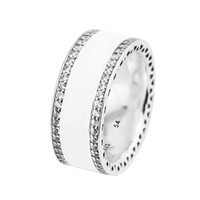 2 Colors Enamel & Clear CZ Silver Rings for Women & Men Openwork Hearts Silver 925 Jewelry Fashion Charm Rings for Girls Party