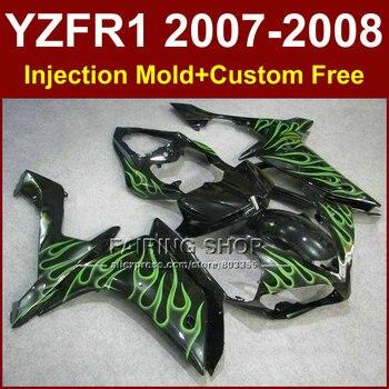 Green flame in black fairings set for YAMAHA YZFR1 2007 2008 fairing kit R1 YZF R1 YZF1000 YZF 1000 07 08 AR4+7Gifts