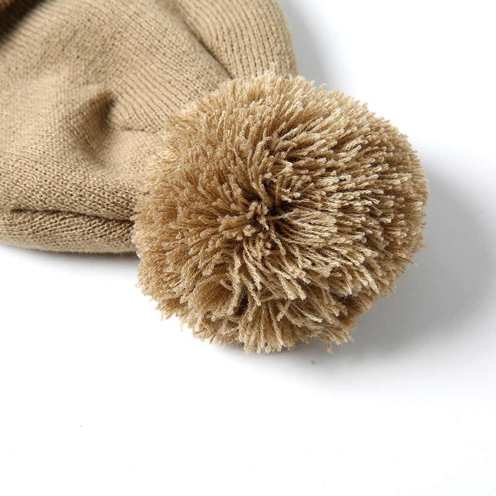 Hombres y Mujeres Skullies de lana grande de piel de pompón esponjoso sombreros adultos invierno ponpon gorras pompón femenino tejido Beanie girls