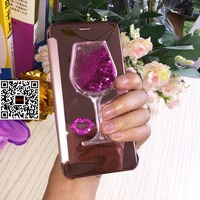 Luxury Woman Lady Wine Rose Diamond Flip Leather Mirror Phone Cover Case For Samsung Galaxy S6