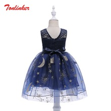 Summer New Kids Girls Princess Starry Lace Dresses Ball Gown Party Dress Prom Sleeveless Birthday Party Dress Vestido 2017 new summer style girls lace dresses princess party sleeveless kids dress clothes children ball gown clothing for 3 8 yrs