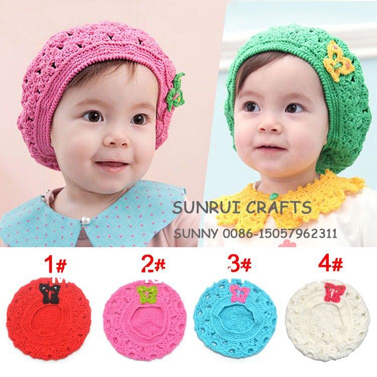Handmade Baby Girls Beret Hat Infant Crochet Beanie Toddler Knitted Spring Hat  Baby Crochet Hat cdf5ba561a1