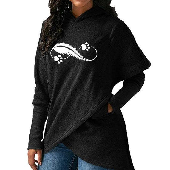 High Quality Large Size 2018 New Fashion Faith Print Kawaii Sweatshirt Feather Paws Print Crossover Hoodie Sweatshirt in Hoodies amp Sweatshirts from Women 39 s Clothing