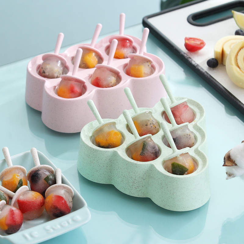 6 loch Nette Cartoon Eis Form Platz Silikon Kunststoff Muster Eis Tablett Wannen Popsicle Maker Küche DIY Tools