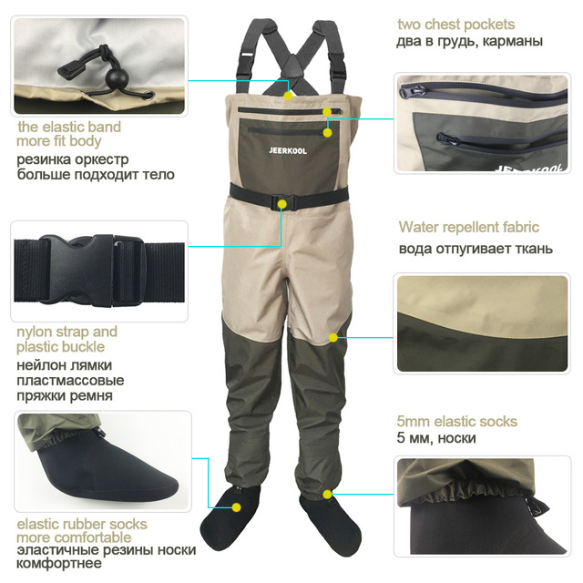 Fishing Waders Hunting Suit 3 Layer Waterproof Wading Pants with Neoprene Boots Waist or Chest Fly Fishing Clothes Overalls 2