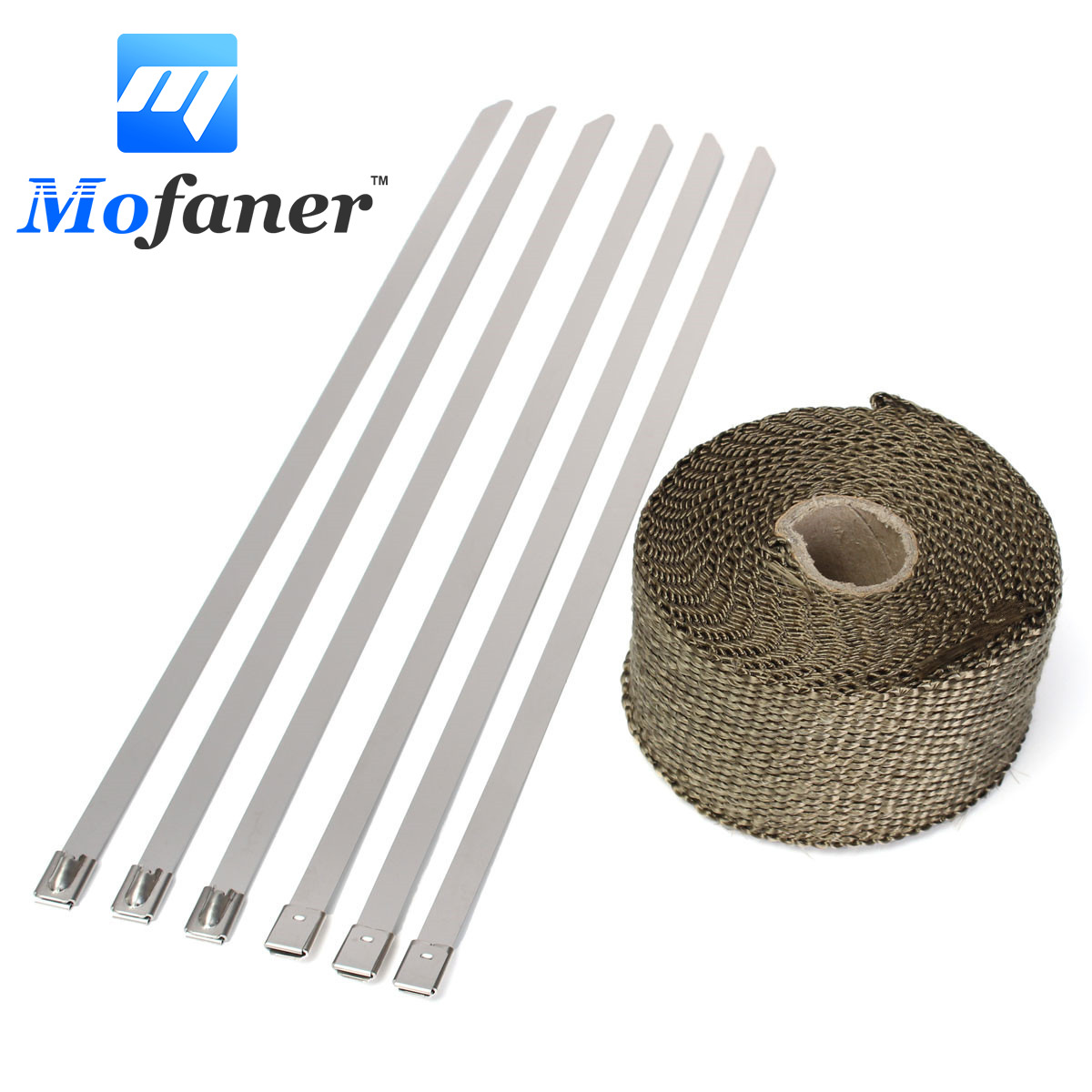 5M Titanium Motorcycle Exhaust Heat Wrap Roll Cable Exhaust Heat Insulation Pipe Tape With 6 Stainless Ties 10pcs stainless steel metal cable ties tie zip wrap exhaust heat straps induction pipe