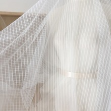 5 yards /lot Stripe soft tulle lace fabric in off white , bridal gown wedding dress linging veil haute couture overlay