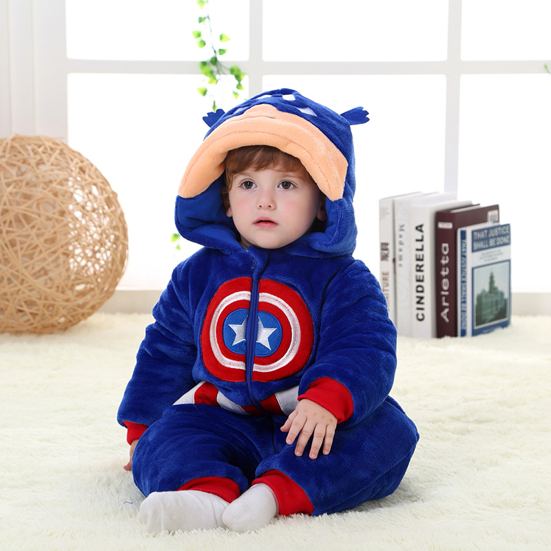 4dfa13fa4fef Baby Cosplay Halloween Winter Christmas Hoodie Romper Captain America  Clothes Kids Cosplay Costume Rompers Thick Onesie Pajamas-in Men s Costumes  from ...