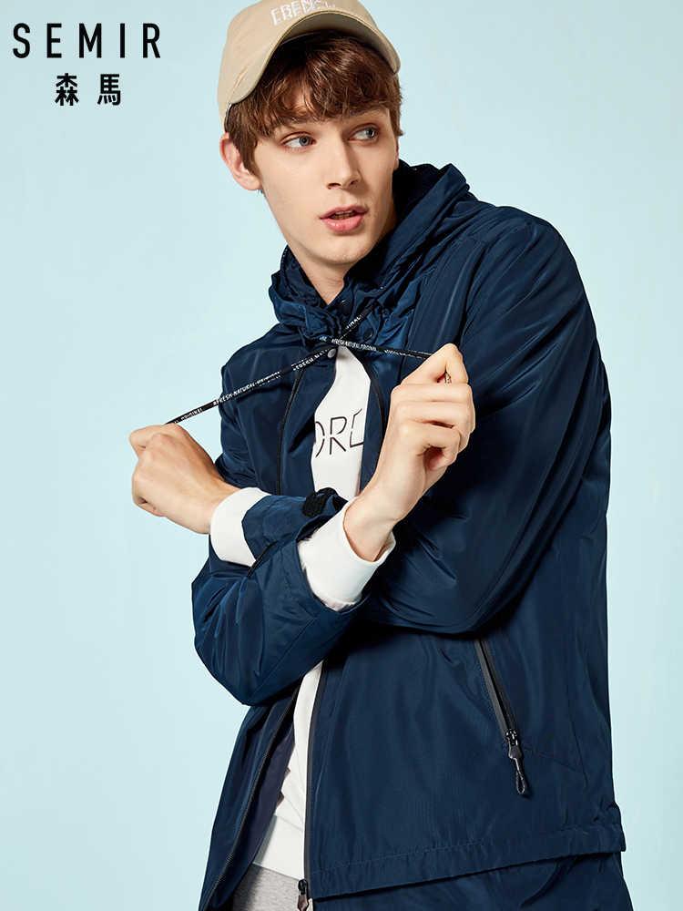 SEMIR, мужская длинная куртка с капюшоном, с аппликацией, мужская куртка на молнии с капюшоном на шнурке, мужская мода, уличная одежда, длинное пальто, верхняя одежда