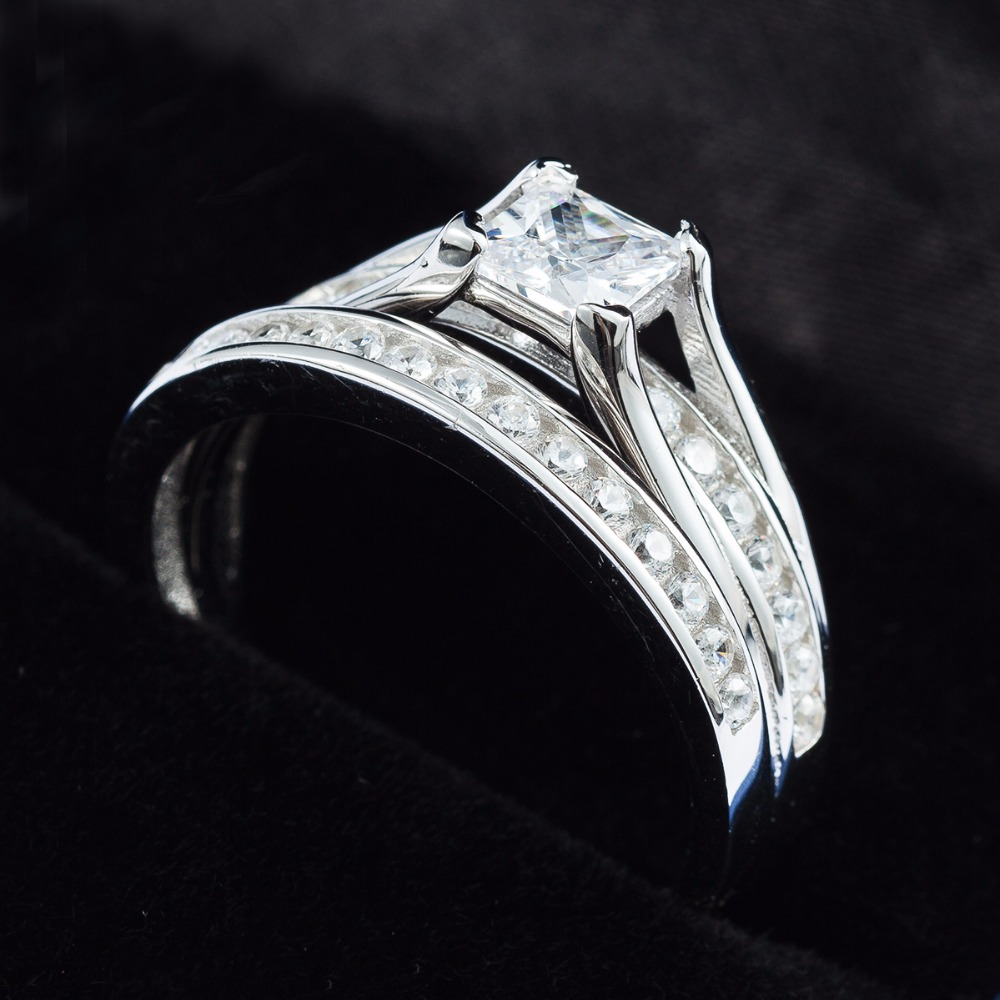 Size 4 12 Genunine Solid Sterling Silver Princess Cut Wedding