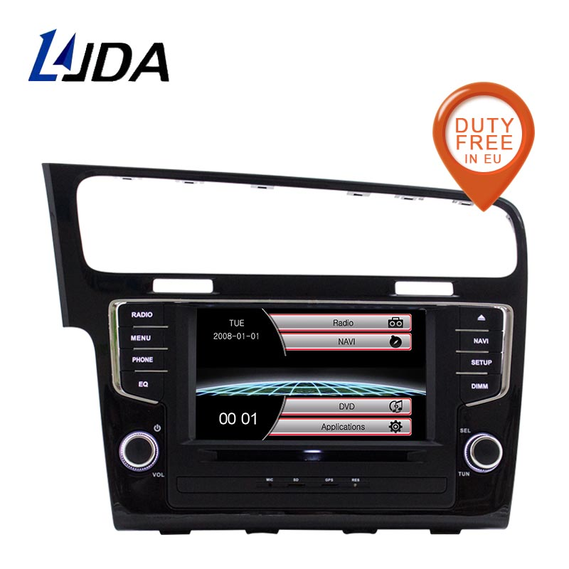 LJDA One Din <font><b>7</b></font> Inch Car DVD Player For <font><b>VW</b></font> <font><b>Golf</b></font> <font><b>7</b></font> 2013-2017 Bluetooth Radio FM GPS Navigation 1080P Map Multimedia Canbus RDS <font><b>USB</b></font> image