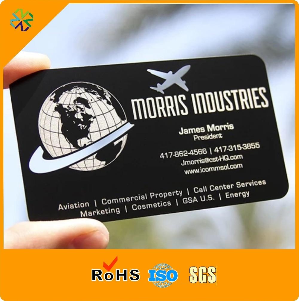 Us 237 99 200 Teile Los Matte Schwarz Gravierte Metall Visitenkarte Druck Hohe Qualität Schwarz 304 Edelstahl Vip Metall Karten Silk Druck In