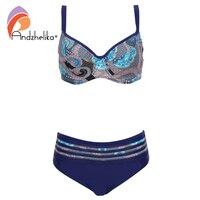 Andzhelika Sexy Vintage Print Floral Bikini Swimsuit Large Soft Cup Waist Mesh Bikini Set 2017 Summer