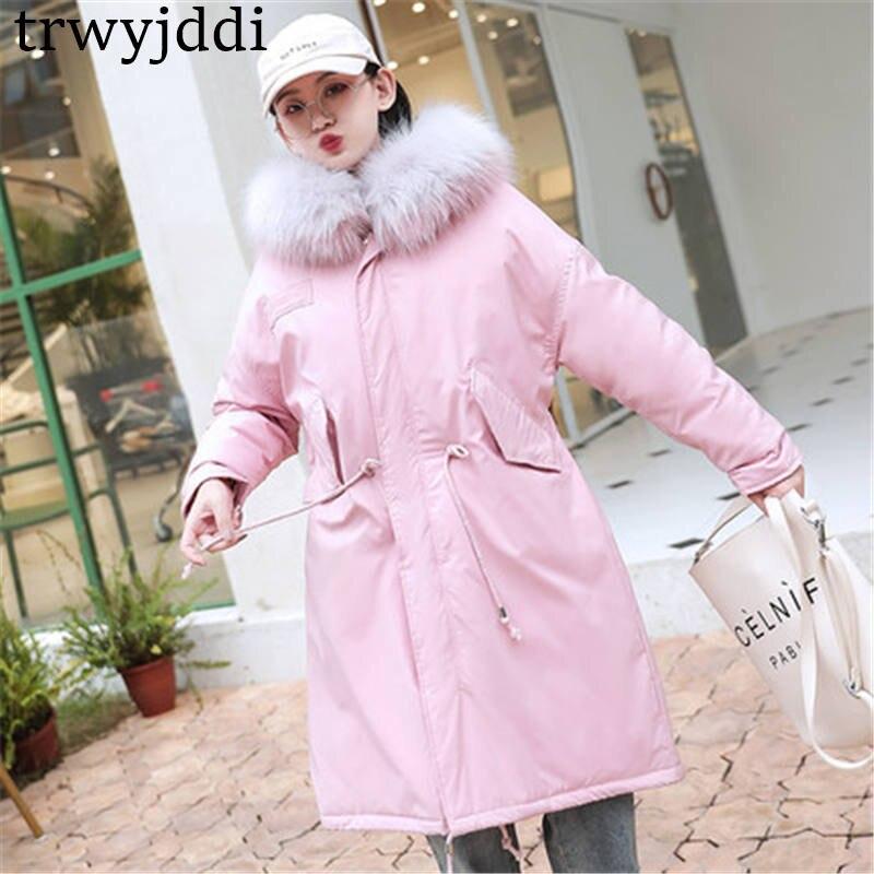 Gruesas Grande Black Parkas Nuevo Y Cuello Pink Con Mujer Invierno 1IwfaqnH7
