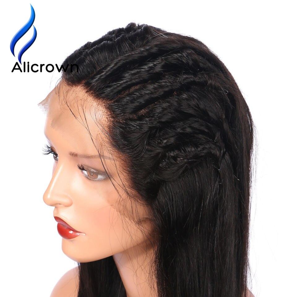 ALICROWN グルーレスフルレース人毛かつらブラジルの Remy 毛のフルレースかつら漂白ノット  グループ上の ヘアエクステンション & ウィッグ からの フル レース ウィッグ の中 2