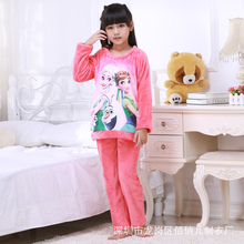Autumn Winter Soft Flannel Girls Pajama Sets High Quality Toddler Sleepwear Robe Nightie Baby Pants Girls Anna Elsa Pajamas