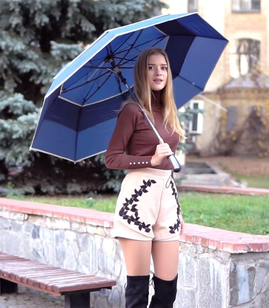 6 pçs/lote cor opcional 112 centímetros visível real dupla camada duas vezes auto guarda-chuva aberto de golfe 70 T hex de aço -ângulos de jardim ao ar livre