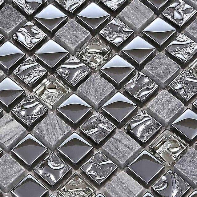 Square Gray Color Electroplating Gl Mixed Stone For Kitchen Backsplash Tile Bathroom Shower Mosaic Tiles Hallway Border
