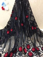 3d Lace Fabric 2019 High Quality Tulle African Lace Red Applique With Beaded Embroidered Lace Trim For Nigerian Wedding x4