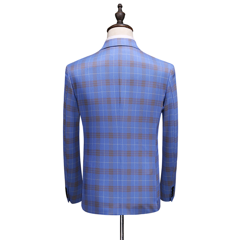 Double Breasted Plaid Suit for Men Light Blue Mens Suits Designers 2019 Terno Slim Fit Masculino Groom Wedding Suit Man - 3