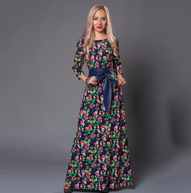 713608a3e410b 2017 Women Runway Long Dress Spring Autumn Dress Three Quarter Sleeve Floor  Length Floral Print Party Dress Summer Maxi Dress