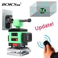 Free shipping BOICS 12 Lines 3D Laser Level Self Leveling 360 Rotary Cross Line laser tape measure floor leveler nivel