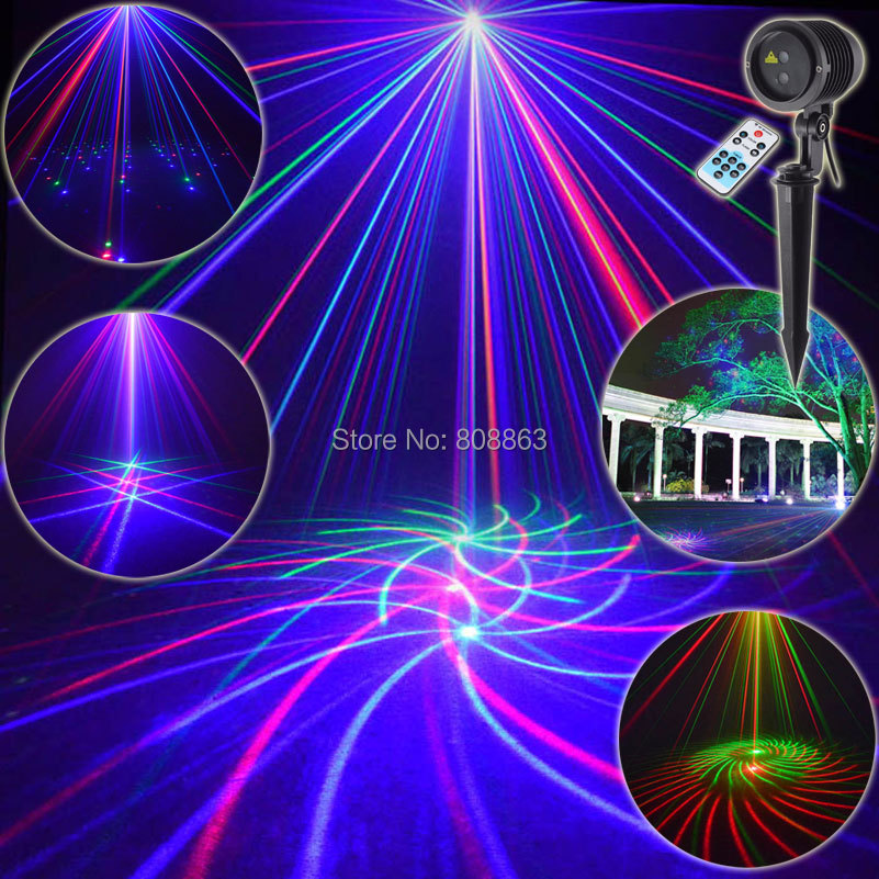 ESHINY Waterproof Outdoor RGB Laser 12 Big Patterns Projector Holiday House Party Xmas DJ Wall Tree Garden Landscape Light T72