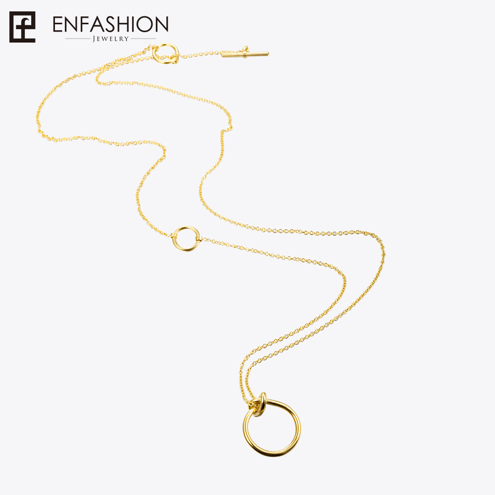 Enfashion Classic Knot Ring Pendants Necklaces Stainless Steel Gold Plated Choker Necklace For Women Long Chain