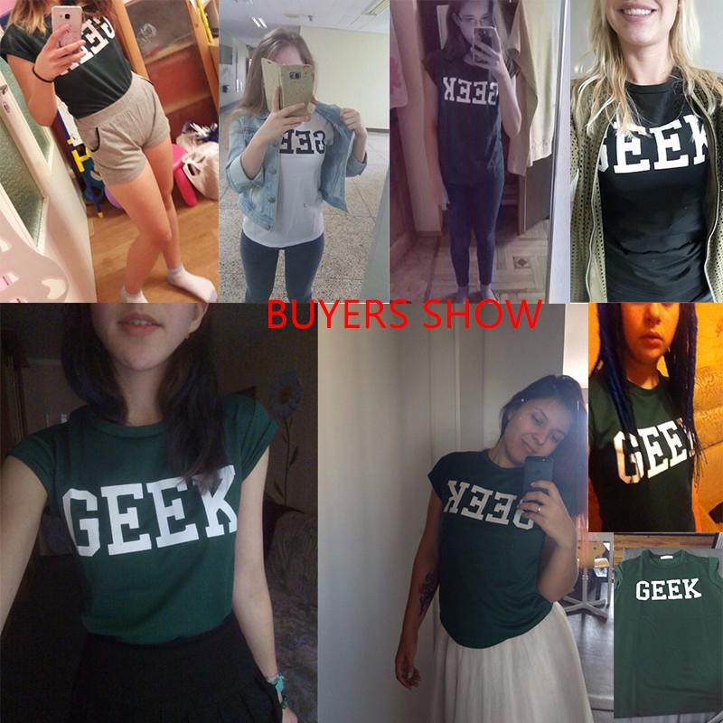 HTB1SnCsQXXXXXcRXVXXq6xXFXXXV - Summer Style Geek Letter Print T Shirt Women