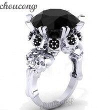 Choucong Joyas Antiguas Cráneo Mujeres Punk anillo 5ct Simulado diamante Negro Cz Oro Blanco Llenó el Anillo de la venda de Boda de halloween