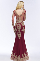 Babyonlinedress Long Sleeve Mermaid Lace Burgundy Evening Dress 2018 Sexy V Back Evening Gowns Robe de Soiree Longue 1