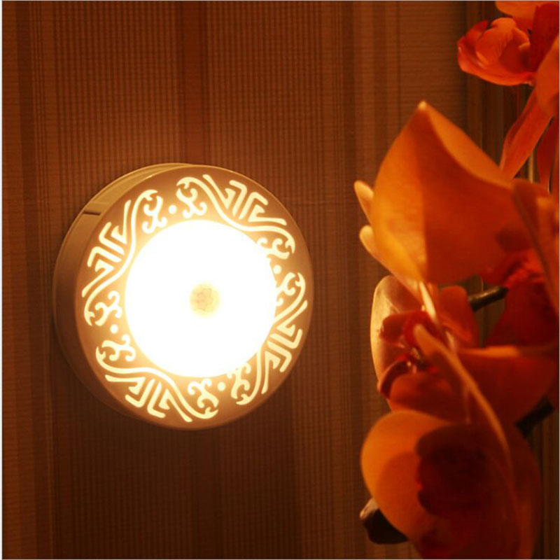 Indoor LED Wall Moon Lamp Atomsphere Sensor White And Yellow Night Light Free Shipping
