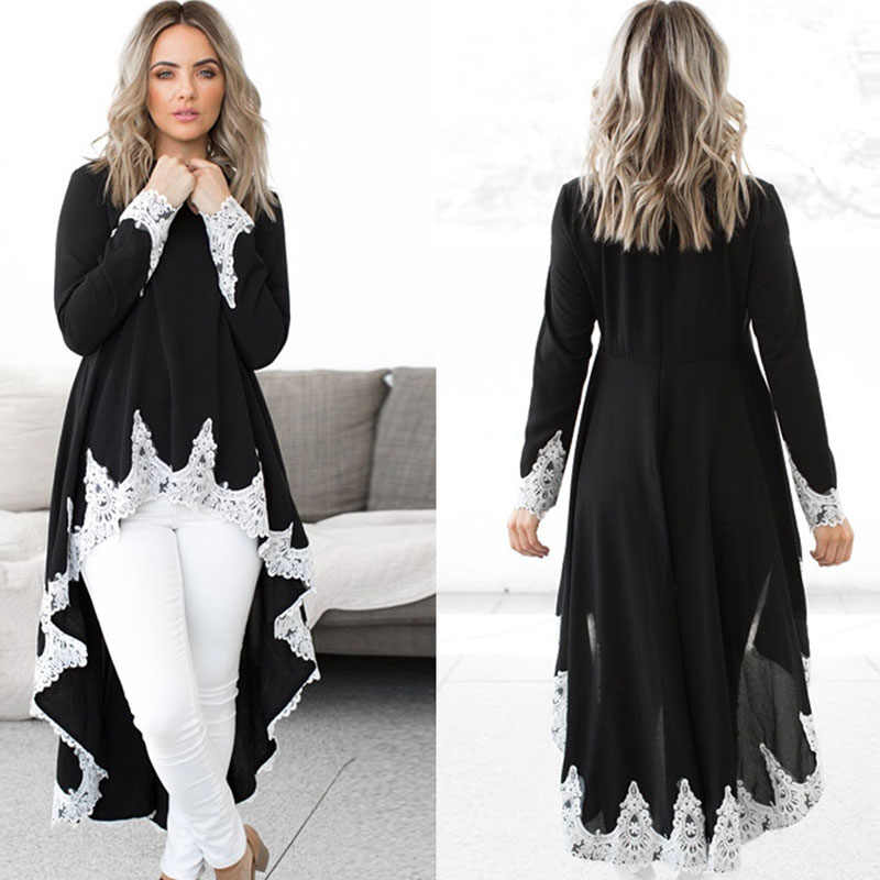 4eeb92804a Elegant Patchwork Lace Dress for Women 2019 Korean Long Sleeve Casual Tunic  Spring Dress High Low