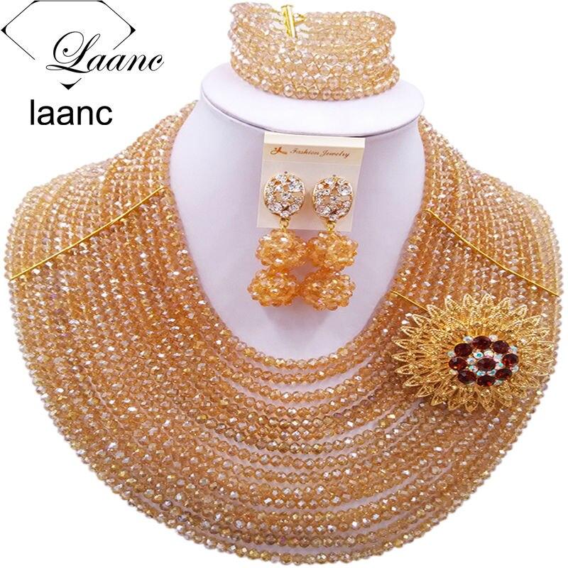 Fashion Gold AB Costume African Beads Jewelry Set 2017 Nigerian Wedding Necklace C16C017Fashion Gold AB Costume African Beads Jewelry Set 2017 Nigerian Wedding Necklace C16C017