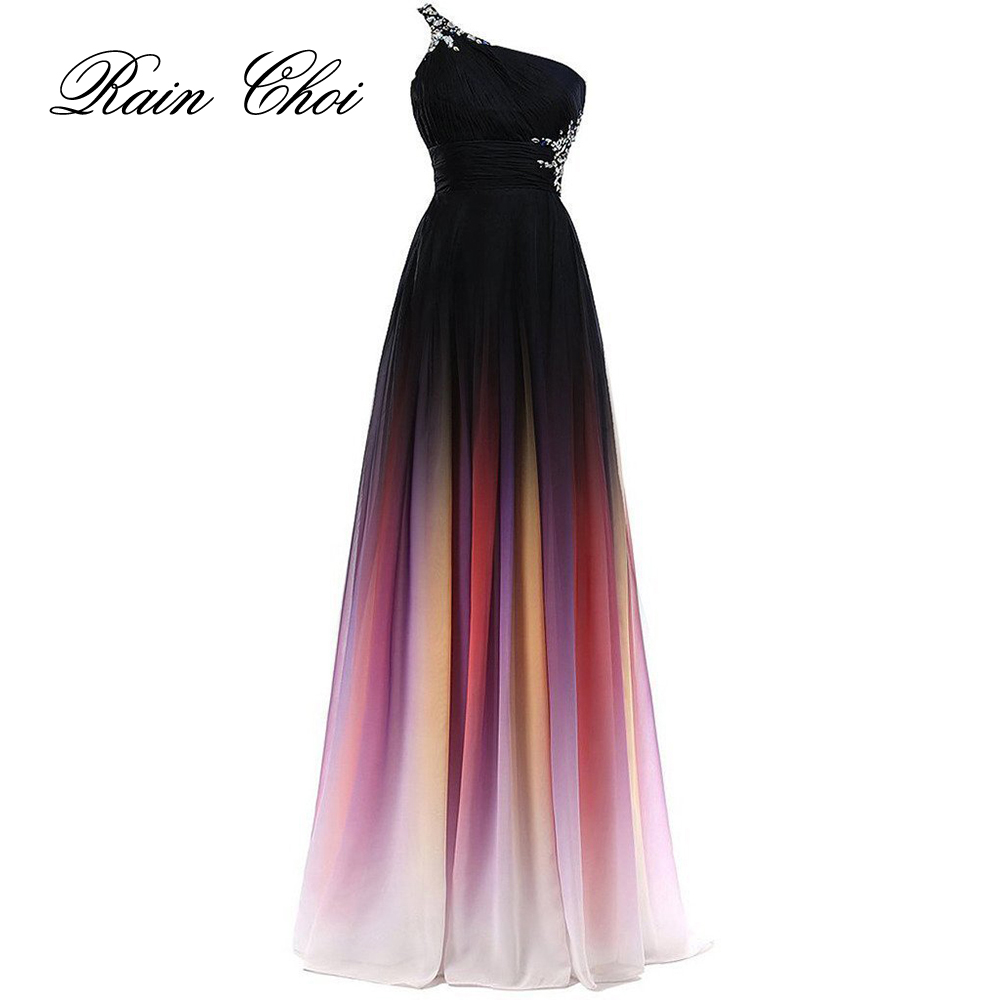 Sexy chiffon een lijn een schouder formele bruidsmeisje jurk bruiloft jurk vloer lengte lange bruidsmeisjekleding 2019