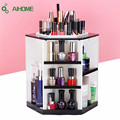 1 Pcs 360 Degree Rotating Storage Box Case Plastic Cosmetic Jewelry Organizer Folding Makeup Storage Stand Holder