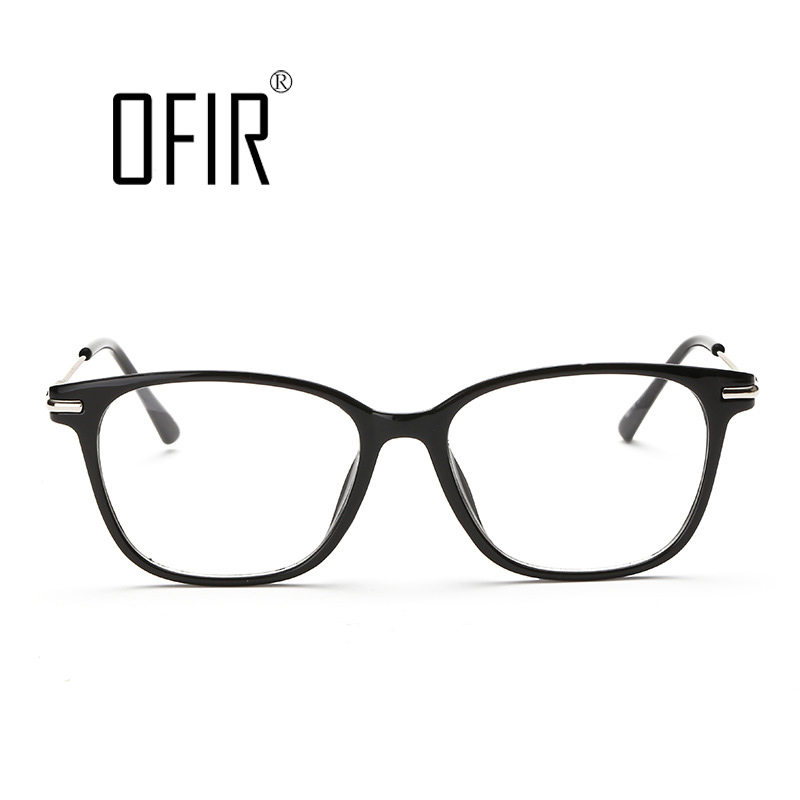 ofir fashion retro glossy girl big clear lens black frame large glasses frame women men gafas