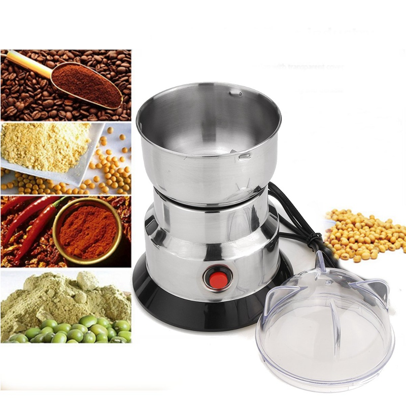 New 220V 100W Electric Coffee Grinder Household Grains Bean Grinding Beans Nuts Mill Machine Stainless Steel