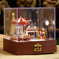 24th DIY Wooden Miniature Doll House Handcraft Model Kits&Carousel Park --Girl's Bedroom with furnitures english instruction