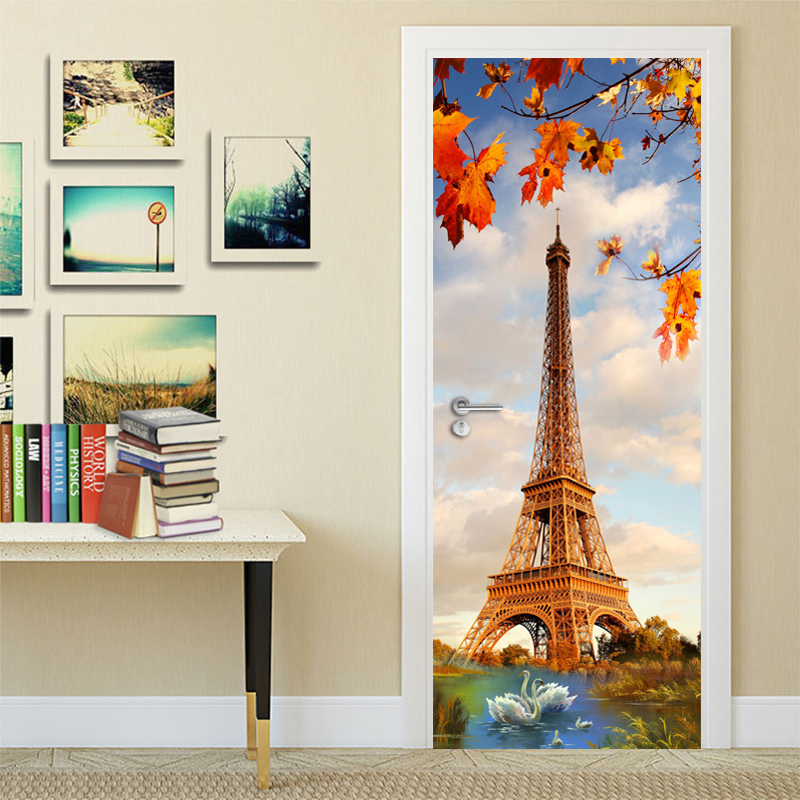 Eiffel Tower Swan Lake Modern Simple Living Room Bedroom 3D Door Decoration Sticker Wall Mural PVC Waterproof Wallpaper Painting