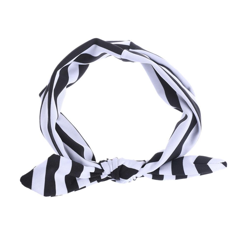 1PC Cute Girl Kids European Styles Soft Organic Cotton Stretch Stripe Rabbit Bow Turban Hairband Headband Head Wrap Accessories