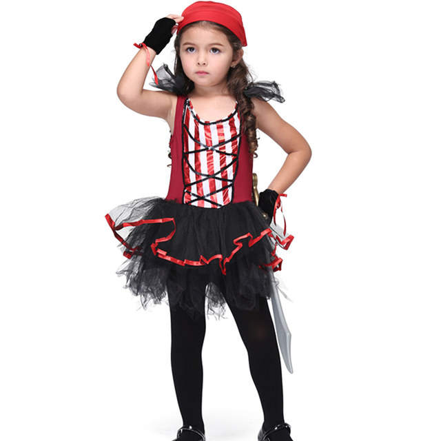 cute girl pirate costumes children cosplay party stage performance clothing dancing tutu dresses baby kids halloween
