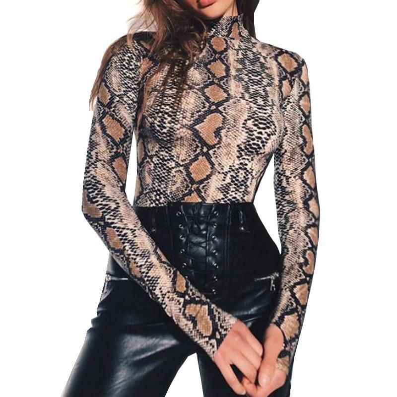 Snake Skin Grain Print Long Sleeve High Neck Bodysuits 2018 Spring Autumn Women Street F ...
