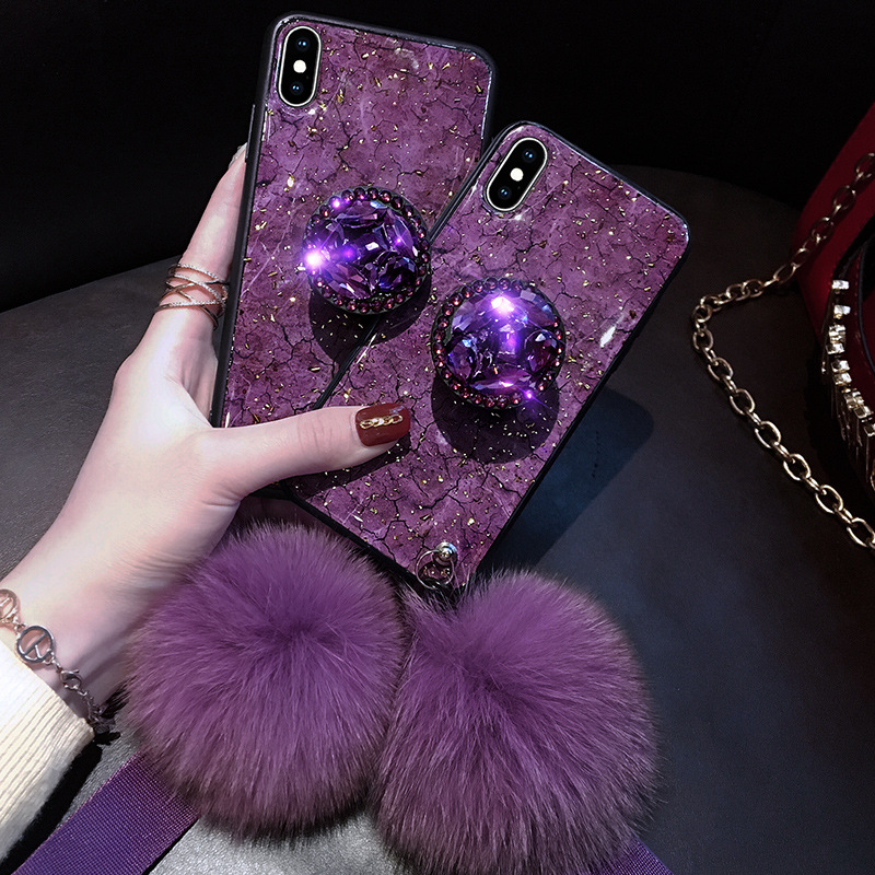 Fundas de teléfono de lujo con diamantes de mármol brillante para iPhone X XR XS MAX 7 8 6 s Plus anillo de silicona funda para iPhone XR XS
