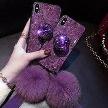 Luksusowe diamentowe marmurowe brokatowe etui na telefony dla iPhone X XR XS MAX 7 8 6s Plus uchwyt pierścień krzemu pokrywa dla iPhone XR XS