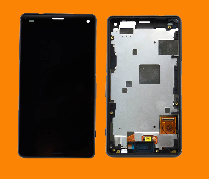 5 pcs Black For Sony Xperia Z3 Mini Compact D5803 D5833 LCD Display touch screen with digitizer Assembly + Bezel Frame , free sh