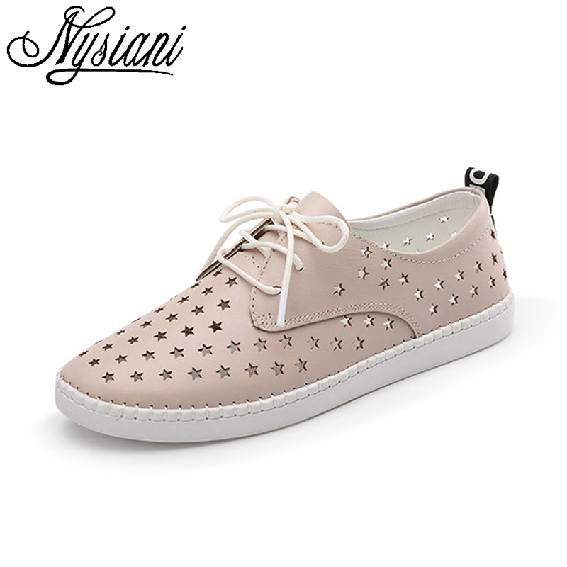 nysiani pink leather casual shoes 2017 summer hollow