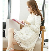 2016 New Fashion High Quality Lace Dress for Pregnant Women Long Sleeve Maternity Dress for Pregnancy Plus Size Clothes